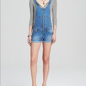 Free People Button Front Denim Shortalls Overalls
